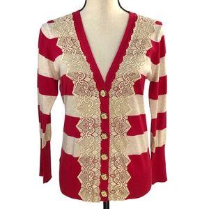 Charlotte Tarantola Red & Cream Striped Cardigan